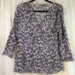 J.Jill Black/Pink Print Pullover Shirt